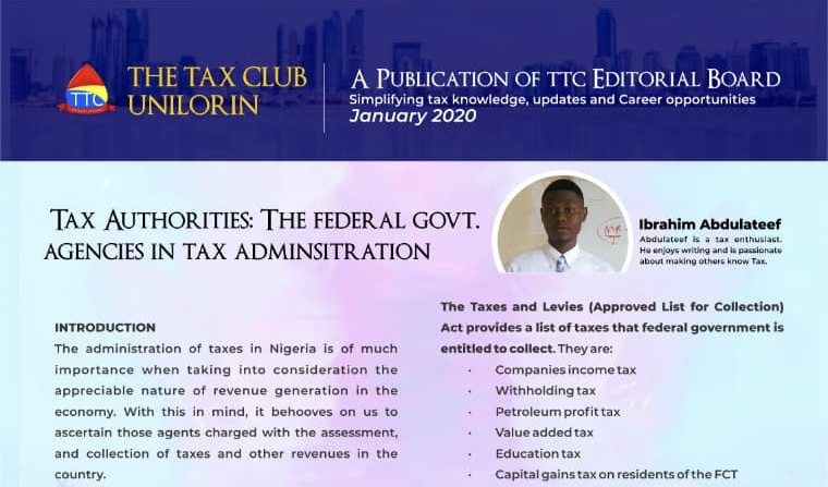 INSIGHT: TAX ADMINISTRATION BY FEDERAL GOVERNMENT AGENCIES By Ibrahim AbdulLateef