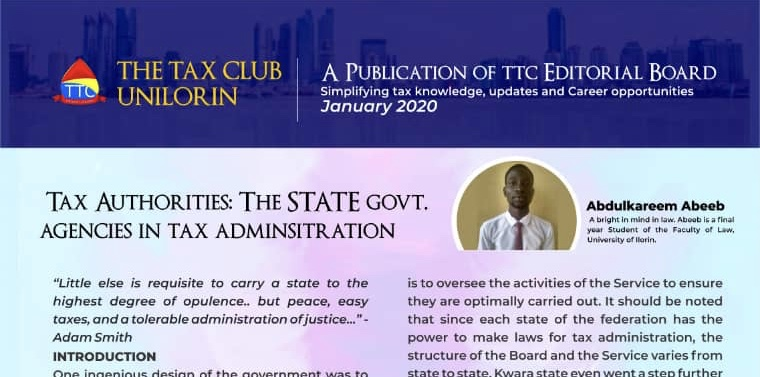 INSIGHT: TAX ADMINISTRATION BY STATE GOVERNMENT AUTHORITIES By Habib Abdulkareem
