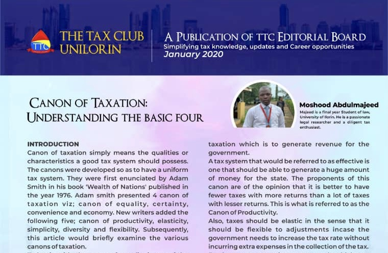 CANONS OF TAXATION By Moshood AbdulMajeed